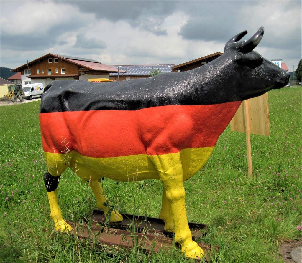 Statue de vache peinte aux couleurs du drapeau allemand